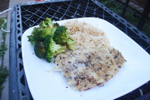 Half a grilled Swai fillet, brown rice and stir-fried broccoli. All on top of two milk crates, for that is my outside furniture.