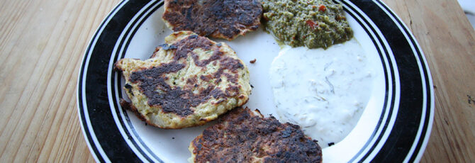 Plated zucchini fritters